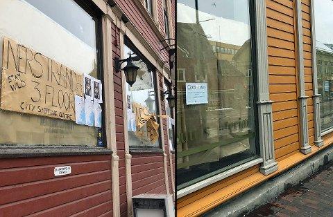 TILDEKKET: Her er to av lokalene - Storgata 42 og Storgata 82 - som begge har dekket til vinduene. I det ene bygget skal det åpne en ny butikk, i det andre skal det renoveres. Foto: Astrid Øvre Helland