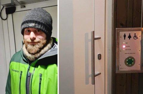 UHELDIG TOALETTBESØK: Rob Colgan sitter innelåst på toalettet i Grøtfjord og venter på at Bydrift skal komme og låse ham ut igjen.