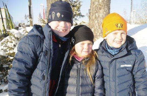 TRIVDES: Halvard, Carmen og Henrik Aasvoll Rognlien (fra venstre) trivdes i Bøverbrurunden.