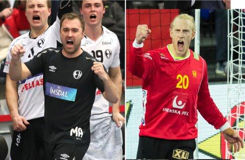 Apelgren vs. Appelgren: Michael Apelgren (t.v.) mener Mikal Appelgren (t.h.) kan bli en nøkkelspiller i kveldens kamp mot Norge.