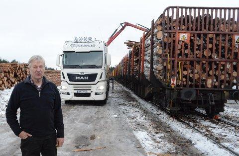 IKKE BRA: – Det er ikke bra at mindre bruk av tømmerterminalen her på Braskereidfoss vil gi mer tungtrafikk på riksveg 2, sier Kjell Konterud.