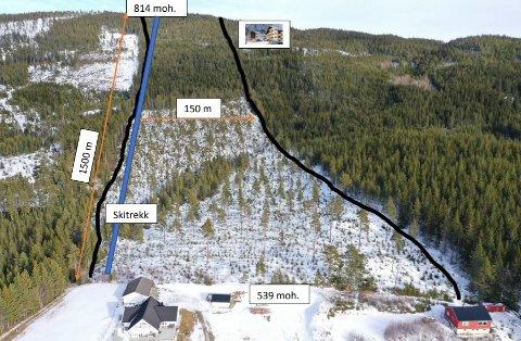 TRONFJELL ALPINANLEGG: Dette er skissen av det planlagte Tronfjell Alpinanlegg.