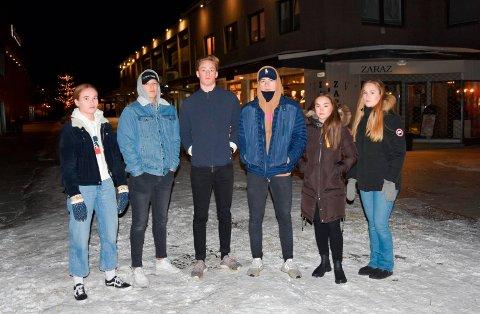 REAGERER: Disse ungdommene reagerer på at Brumunddal blir framstilt som en by hvor narkotika er vanlig blant ungdom. De kjenner seg ikke igjen i en slik hverdag. Fra venstre: Ingvild Saug (17), Fredrick Johansen (17), Håkon S. Hansen (18), Sean R. Feiring (17), Tiril Amalie Smestad (17) og Mina Holmen Nilssen (17).