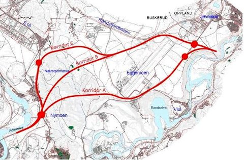 Dette er de tre mulige korridorene for E16 fra Nymoen til Eggemoen.