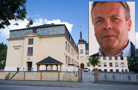 HØNEFOSS SKOLE: Det er viktig at byplanen også ivaretar Hønefoss' historie og egenart, sier Dag Erik Henaug (H).
