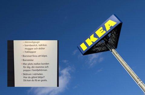 Skiltet hang på en IKEA-restaurant i Örebro. FOTO: REUTERS/Yves Herman