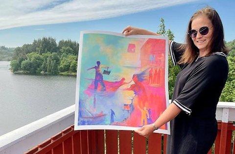 MED PENN OG PENSEL: Grethe Kjøsnes åpner sin utstilling i Schulerudstuene lørdag med internasjonalt meriterte bilder, og kombinerer det med et bokbad der hennes nye diktsamling Havna er hovedtema.