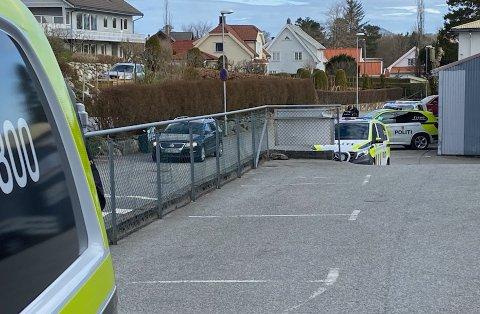 Flere politistyrker var på Ganddal lørdag.