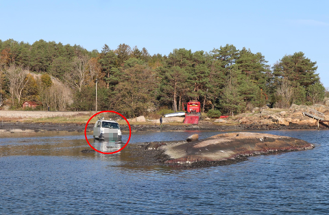 Det var et snodig syn som møtte FBs fotograf ved Skjæløy i Onsøy torsdag ettermiddag.