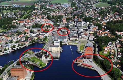 BIBLIOTEK-KAMPEN: Fire tomtealternativer konkurrerer om å få det nye hovedbiblioteket i Skien: Smieøya, Skien Brygge, Meierikvartalet og Kulturkvartalet. (Foto: INGE FJELDDALEN)