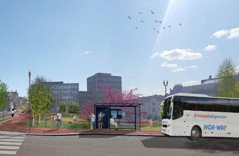 STARTER: Rett over påske starter arbeidene opp igjen med nytt kollektivknutepunkt og park på Landmannstorget. Ekspressbusser i Hesselberggate og metrobusser i Kongens gate. SKISSE: DRONNINGA LANDSKAP