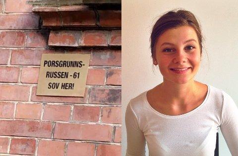 """SKILT: """"Porsgrunnsrussen-61 sov her!"""". I 59 år har skiltet fått henge i fred på bygget i Christianshavn. Solveig Joy fra Brevik bor i København og undrer seg over historien bak skiltet."""