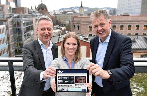 Amedias konsernsjef Are Stokstad, NA+-utgavesjef Maria Schiller Tønnessen og Nettavisens sjefredaktør Gunnar Stavrum er spente på mottakelsen av den nye riksavisen NA+. Foto/montasje: Tommy Brakstad/Mediehuset Nettavisen.