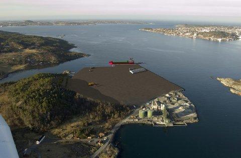 Utbygginga skal gi nye kaifasiliteter og over 200 mål nytt næringsareal på Husøya. Illustrasjon: Husøya næringspark AS.