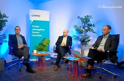 LØFT: Pål Bakke (NHO, til venstre), Geir Inge Lien (Sp) og Espen Remme i NHO MØre og Romsdal er enige om hva som må prioriteres dersom Møre og Romsdal skal få gjennomført store samferdselsprosjekt i fylket.