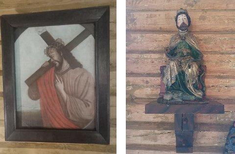 Overoppheting: Maleriet Kristus med korset er ikke skadet, mens skulpturen av Hellig Olav ble merket av den sterke varmen.