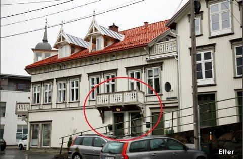 Den innringede balkongen blir en tro kopi av balkongen på hjørnet av bygget. Illustrasjon: Atle Goutbeek