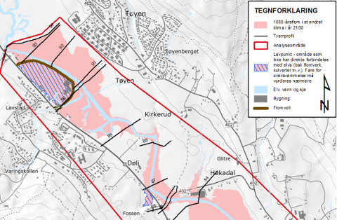 NYTTSCENARIO:Kart som visser vannsituasjonen ved en tusenårsflom med klimapåslag rundt Elvetangen i Hakadal.