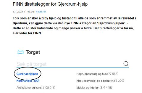 HJELP PÅ FINN: I forbindelse med skredkastrofen i Gjerdrum er det et stort hjelpebehov, og mange som ønsker å hjelpe. Gjerdrum kommune har nå bed nettstedet Finn.no om å organisere dette.