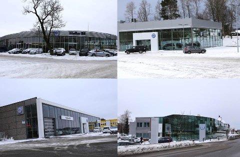 I HELE VESTFOLD: Møller-systemet er til stede med bilforretninger i både Tønsberg (øverst til venstre), Horten (øverst til høyre), Larvik (nederst til venstre) og Sandefjord (nederst til høyre).