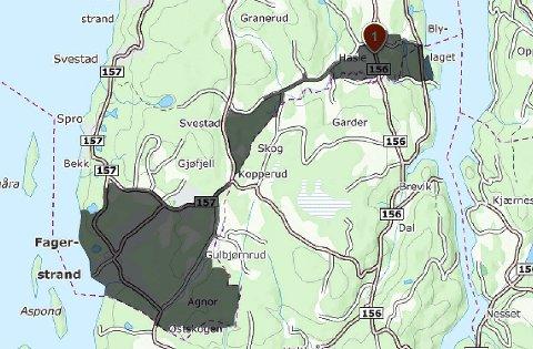 Strømutfall: Ikke alle i de mørkt skraverte områdene her på Nesodden ble rammet, men mange. Kart: 1881/amta