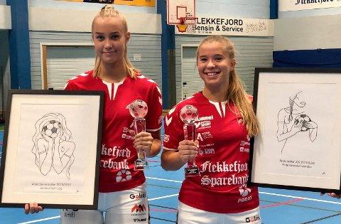 PREMIERT: Andrea Dyrli Log og  Fride Grønstøl Leinebø fikk hver sin premie. Foto: FHK