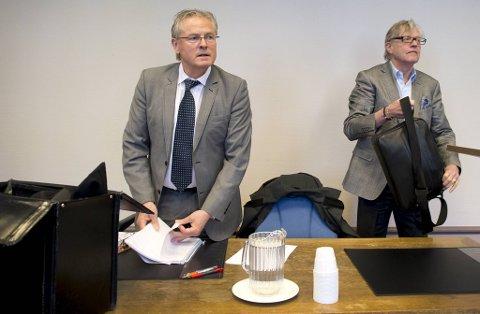 Advokat Per Magne Kristiansen (t.v.) og Odd Drevland i Bergen tingrett under rettssaken for syv år siden.