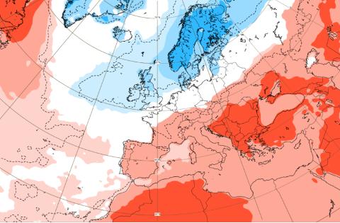 Heile Skandinavia blir litt kaldare enn normalt, ifølge prognosane.
