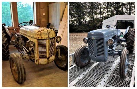 FØR OG NO: Kim Sundal starta på eit vrak, og no framstår den 70-år gamle Ferguson-traktoren som ny.