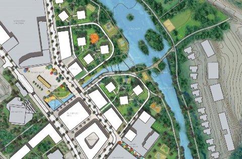 Dette er eit forslag til korleis Ålgård sentrum kan koma til å sjå ut. Torgveien går mellom Amfi Ålgård og elva, og han fører til det som kjem til å bli Stasjonsplassen. Brua til Liv Godin kryssar Figgjoelva.