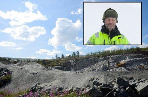Hardangervidda Pukk og Stein AS ved Tom Karsten Garen (innfelt) har fått driftskonsesjon for uttak av stein i Sysendalen.