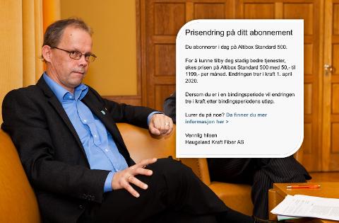 IRRITERT: Tidligere varaordfører i Haugesund, Sven Olsen, kan ikke forstå hvorfor et selskap som Haugaland Kraft Fiber, med 75 millioner kroner i overskudd, fortsetter å «flå» sine kunder.