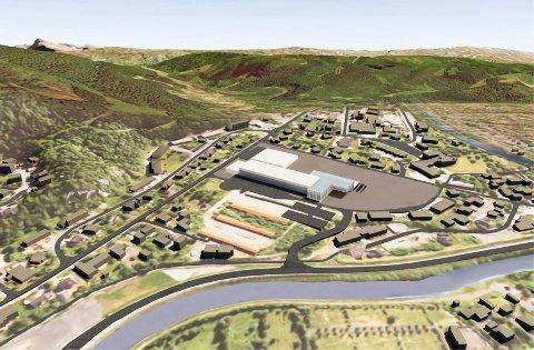 Nordland fylkeskommune skal bygge ny videregående skole i Mosjøen. Alternativ Skjervengan. Mosjøen videregående skole. Illustrasjon OPAK AS
