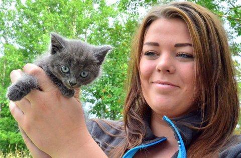 Susann Sandbekkbråten kom over tre kattunger som var hensatt i en plastpose. Foto: Øyvind Henningsen