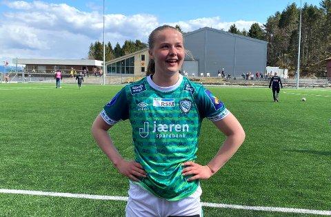 GLAD MÅLSCORER: Helene Broch debuterte for Klepp, og satte ballen i mål etter bare to minutters spill.