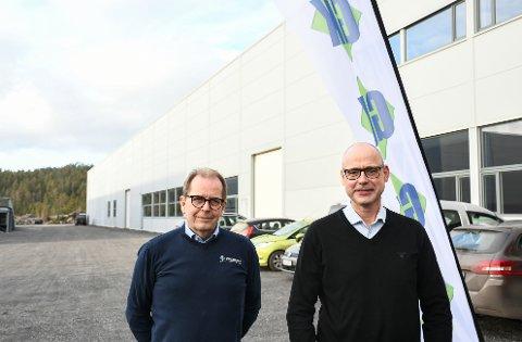 På etterspørsel av kundene: Avdelingsleder Sølve Nærum ved GK Inneklima (f.v.) og distriktssjef Peder Midtstøl ved GK AS på plass i Kragerø Næringspark. Både GK Inneklima og GK Rør flytter inn i kontorlokalene på Fikkjebakke.