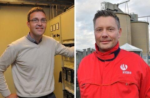 Kenneth Ingvaldsen og BKK kastar seg med i spleiselaget for å få bygd det såkalla Newton-rommet ved Hydro Husnes. Eivind Torvik t.h. (Arkivfoto).