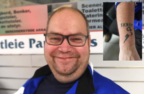 SKRIMPATRIOT: Roger Haugen har strekt Skrim-patriotismen hakket lengre enn de fleste med en tatovering på armen.