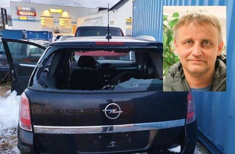 Kent Åge Johansen (innfelt) oppfordrer den som har kastet inn en stein i bakruta til hans bil om å ta kontakt.