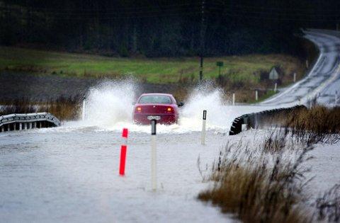 Vansjø har ved en rekke anledninger gått over breddene, bildet er fra 2007.
