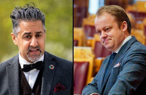 KRANGEL: De profilerte politikerne Abid Raja og Erlend Wiborg har havnet i krangel over manglende kondolanser etter to karikaturtegneres bortgang.