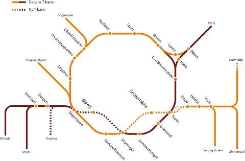 T-BANEKART: Byrådets forslag til nytt T-banekart i Oslo.
