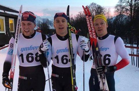 TOPP TRE: Erik Valnes (midten) vant i Nordreisa søndag, etterfulgt av Håkon Mikalsen (t.h.) og Eirik Mikkelsen (t.v.).