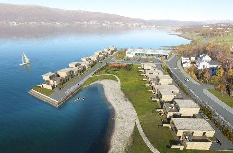 TIDLIGERE PLANER: Slik ville Norgesgruppen bygge ut eiendommen langs Kvaløyvegen. Nå kan det bli høyere boligblokker i stedet.