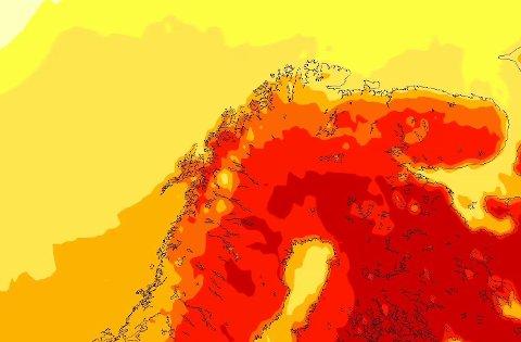 VARME: - De røde områdene indikerer temperaturer mellom 20 og 25 grader, de mørke oransje temperaturer mellom 15 og 20 grader. De mørkeste områdene som ligger over Nord-Sverige antyder temperaturer over 25 grader, men disse er ikke ventet å bre seg inn over Nord-Norge i denne omgang, dessverre, sier Cecilie Villanger.