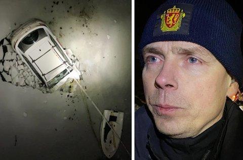 Slik ble bilen funnet. Politiets innsatsleder Arne-Markus Svendsen skryter av alle som deltok i redningsaksjonen. Foto: Stein wilhelmsen / Jon Henrik Larsen, Salangen-nyheter.com