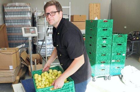 KLAR: Yngve Henriksen er klar med en ladning epler som skal presses, mostes og tappes.