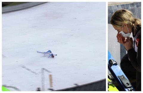 KJEMPEHOPP: Maren Lundbys lagvennennine Eirin Kvandal fikk til et kjempehopp, men falt stygt. Maren Lundby var raskt borte hos lagvenninnen for hun ved bevissthet ble kjørt til sykehus.