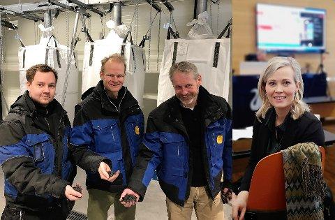 BIONÆRING: Vebjørn Dybvik (f.v.), Tord Rindal og Einar Stuve i Oplandske Bioenergi har store planer for sin klimapositive fabrikk, helt etter Sp og Kjersti Bjørnstads ønske.