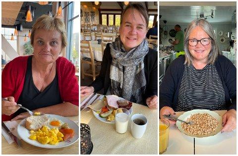 FROKOST: Fra venstre Rigmor Aasrud (Ap) nøt en eggfrokost, Marit K. Strand (Sp) la på litt skinke og bacon, mens Høyres Kari-Anne Jønnes valgte rispuff/honnikorn, morgenen etter valget. Alle tre fikk fast plass på Stortinget i årets valg.